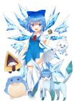 1girl :d absurdres blue_bow blue_dress blue_eyes blue_hair bow character_request cirno dress full_body glaceon hair_bow highres holding holding_poke_ball kneehighs looking_at_viewer neck_ribbon open_mouth poke_ball pokemon red_ribbon ribbon sakipsakip short_dress short_hair short_sleeves simple_background smile snorunt spheal standing touhou white_background white_legwear