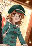 1boy 1girl :d araki_hina black-framed_eyewear blush brown_eyes brown_hair dutch_angle glasses green_coat green_hat hat idolmaster idolmaster_cinderella_girls long_hair mitsuki_meiya open_mouth outdoors smile solo_focus sparkle standing visor_cap