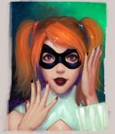 1girl artist_name batman_(series) black_nails blue_nails dc_comics face harley_quinn lips lipstick looking_at_viewer makeup nail_polish open_mouth orange_hair peter_xiao red_nails solo twintails upper_body violet_eyes