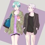 1boy 1girl androgynous aqua_eyes aqua_hair blazer cairngorm_(houseki_no_kuni) cellphone coat collarbone hood houseki_no_kuni humanization jacket looking_at_another open_clothes open_coat open_mouth phone phosphophyllite short_hair smartphone thighs walking wavy_mouth white_hair