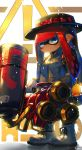 ! 1girl bangs black_hat black_legwear blue_eyes blunt_bangs bow buckle chromatic_aberration closed_mouth commentary domino_mask expressionless grey_jacket gun hat hat_bow highres hime_cut holding holding_gun holding_weapon hydra_splatling_(splatoon) ink_tank_(splatoon) inkling jacket kashu_(hizake) laces long_hair looking_at_viewer mask monster_girl pointy_ears polka_dot polka_dot_bow red_bow redhead side_glance signature solo splatoon splatoon_2 standing tentacle_hair weapon white_background white_footwear zipper zipper_pull_tab