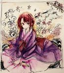1girl absurdres bow egasumi hair_bow highres japanese_clothes kimono kotohime layered_clothing layered_kimono margarine0922 red_eyes redhead sitting touhou touhou_(pc-98) traditional_media