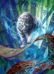 animal_ears bamboo bamboo_forest blue_eyes copyright_name force_of_will forest glowing glowing_eyes leaf misa_tsutsui nature no_humans official_art scroll tail tiger tiger_ears tiger_tail