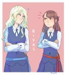 2girls ? artist_name blonde_hair blue_eyes blush brown_hair confrontation crossed_arms diana_cavendish dress english frown green_hair kagari_atsuko little_witch_academia long_hair luna_nova_school_uniform multicolored_hair multiple_girls red_eyes school_uniform signature smile ticcy witch