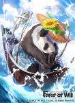 1boy butterfly_net copyright_name fish fishing_rod flower force_of_will hand_net hat leaf mayo_(becky2006) official_art panda sky solo sparkle sunflower towel water