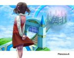 cloud clouds doujima_nanako floating_island hair_ribbon heaven persona persona_4 pillar rainbow ribbon sky stairs steps toilet_(108_toilet) twintails