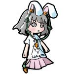 animal_ears black_hair bunny_ears carrot chibi clothes_writing earphones food_themed_clothes inaba_tewi kureha_mitsushige lowres rabbit_ears short_hair t-shirt touhou