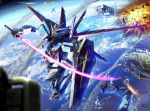 damage damaged earth energy_sword explosion gundam gundam_seed gundam_seed_destiny impulse_gundam mala mala_(artist) mecha meteor satellite shield sword weapon zaku zaku_ii zaku_ii_f/j zaku_warrior