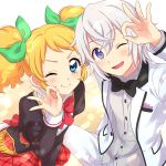 1boy 1girl 2girls :d aikatsu! black_jacket black_neckwear blonde_hair blue_eyes blush bow bowtie character_request closed_mouth eyebrows_visible_through_hair green_bow hair_between_eyes hair_bow hand_up highres jacket juliet_sleeves lavender_hair long_sleeves looking_at_viewer multiple_girls ok_sign one_eye_closed open_clothes open_jacket open_mouth pants puffy_sleeves red_neckwear red_skirt saegusa_kii sekina skirt smile twintails vest violet_eyes white_jacket white_pants