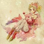 1girl cape commentary_request detached_sleeves dress earrings elbow_gloves final_fantasy final_fantasy_vi gloves green_hair hair_ribbon jewelry long_hair moogle pantyhose ponytail print_legwear ribbon takanamushi tina_branford