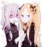 2girls :o abigail_williams_(fate/grand_order) absurdres alternate_hairstyle bags_under_eyes bangs black_bow black_dress blonde_hair blue_eyes blush bow brown_bow dress eyebrows_visible_through_hair fate/grand_order fate_(series) hair_between_eyes hair_bow hand_holding highres interlocked_fingers lavinia_whateley_(fate/grand_order) long_sleeves looking_at_viewer looking_to_the_side multiple_girls orange_bow parted_bangs parted_lips pink_eyes polka_dot polka_dot_bow shaded_face signature silver_hair sofra star starry_background two_side_up white_background