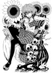 1girl arm_rest beckoning blackcat_(pixiv) bow bowtie closed_umbrella constricted_pupils evil_smile flower full_body greyscale highres kazami_yuuka long_sleeves looking_at_viewer mary_janes monochrome open_clothes open_vest pantyhose parasol plaid plaid_skirt plaid_vest shaded_face shirt shoes short_hair simple_background sitting skirt skirt_set skull smile solo sunflower touhou umbrella vest white_background