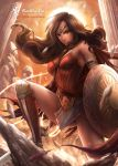 1girl bare_shoulders black_hair breasts column dc_comics long_hair pillar rachta_lin shield solo sword tiara weapon wonder_woman wonder_woman_(series)