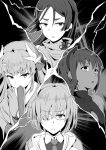 4girls assassin_(fate/prototype_fragments) bangs bare_shoulders black_dress black_hairband center_opening dark_skin dragon_girl dragon_horns dress eyebrows_visible_through_hair fan fate/grand_order fate/prototype fate/prototype:_fragments_of_blue_and_silver fate_(series) glasses hair_over_one_eye hairband horns jacket japanese_clothes kiyohime_(fate/grand_order) long_hair mash_kyrielight mask mask_removed minamoto_no_raikou_(fate/grand_order) monochrome multiple_girls necktie oumi_(rsag) parted_bangs sash short_hair very_long_hair