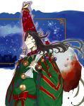 1boy ashiya_douman_(fate/grand_order) bell black_hair blood christmas_lights curly_hair fate/grand_order fate_(series) hat long_hair looking_at_viewer male_focus ornament pako parted_lips sack santa_hat solo