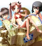3girls bangs bikini black-framed_eyewear black_bow black_choker black_eyes black_hair bow breasts brown_eyes brown_hair choker closed_eyes cocktail_glass commentary cup day drinking_glass drinking_straw emblem eyebrows_visible_through_hair food girls_und_panzer ground_vehicle hair_bow holding holding_food hose kadotani_anzu katahira_masashi long_hair looking_at_another looking_at_viewer military military_vehicle monocle motor_vehicle multiple_girls navel ooarai_(emblem) open_mouth outdoors panzerkampfwagen_38(t) parted_bangs popsicle red_bikini ribbon_choker short_hair sitting small_breasts smile sparkle swimsuit tank twintails under-rim_eyewear water wet