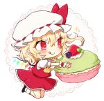 1girl ascot black_footwear blonde_hair bow chibi closed_mouth cupcake flandre_scarlet food full_body hat hat_bow holding honotai kneeling licking_lips long_hair miniskirt mob_cap pointy_ears red_bow red_eyes red_skirt shoes simple_background skirt skirt_set smile socks solo tongue tongue_out touhou white_background white_hat white_legwear wings wrist_cuffs