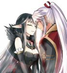 1boy 1girl assassin_of_red bare_shoulders black_dress black_hair breasts cleavage closed_eyes detached_sleeves dress earrings fate/apocrypha fate_(series) fur_trim hand_holding japanese_clothes jewelry kotomine_shirou long_hair pointy_ears ponytail runliya smile white_background white_hair