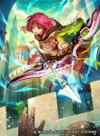 1girl arrow bow_(weapon) brick_wall capelet castle commentary company_name copyright_name day fire_emblem fire_emblem:_seima_no_kouseki fire_emblem_cipher gloves glowing headband holding holding_bow_(weapon) holding_weapon hood hood_down konfuzikokon looking_at_viewer neimi official_art open_mouth outdoors pink_eyes pink_hair pleated_skirt quiver short_hair skirt thigh-highs weapon zettai_ryouiki