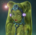 1girl alien bare_shoulders chains ear_protection green_eyes green_skin lipstick makeup oola portrait solo star_wars taiss14 twi'lek