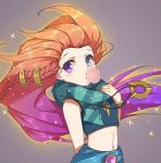 1girl bare_shoulders blue_eyes bracelet braid chewing_gum crop_top half-closed_eyes hand_on_own_chest heterochromia jewelry league_of_legends long_hair looking_at_viewer midriff multicolored_hair navel necklace orange_hair purple_hair qingchen_(694757286) sarong scarf shirt sleeveless sleeveless_shirt solo sparkle striped striped_scarf two-tone_hair upper_body very_long_hair violet_eyes zoe_(league_of_legends)