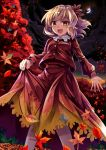 1girl aki_shizuha autumn autumn_leaves blonde_hair commentary_request e.o. forest hair_ornament highres leaf_hair_ornament long_hair looking_at_viewer moon mountain nature night night_sky open_mouth red_shirt red_skirt shirt short_hair skirt sky smile solo touhou yellow_eyes