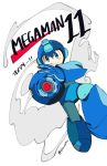 1boy android arm_cannon blue_eyes congratulations copyright_name helmet male_focus pointing pointing_at_viewer rockman rockman_(character) rockman_11 simple_background smile smoke solo weapon white_background