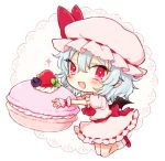 1girl ascot blush bow chibi cupcake fang food full_body hair_between_eyes hat hat_bow holding honotai kneeling light_blue_hair looking_at_viewer mob_cap open_mouth pink_hat pink_skirt pointy_ears puffy_short_sleeves puffy_sleeves red_bow red_eyes red_footwear remilia_scarlet sash shoes short_sleeves simple_background skirt skirt_set smile solo touhou white_background wrist_cuffs