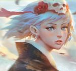 1girl bangs blue_eyes blue_hair blush commentary ear_piercing earrings face flower guweiz hair_flower hair_ornament hoop_earrings japanese_clothes jewelry kimono looking_at_viewer original parted_lips piercing pink_lips skull solo upper_body