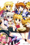 4girls :d ahoge black_gloves blonde_hair blue_eyes blue_ribbon blush bouquet bow bowtie brown_hair brown_skirt einhart_stratos fate_testarossa fingerless_gloves flower fujima_takuya full_body gauntlets gloves hair_ribbon heterochromia highres holding holding_bouquet locked_arms long_hair looking_at_viewer lyrical_nanoha mahou_shoujo_lyrical_nanoha mahou_shoujo_lyrical_nanoha_vivid miniskirt multiple_girls official_art open_mouth orange_flower orange_ribbon pink_flower pleated_skirt red_eyes red_flower red_neckwear ribbon shirt short_sleeves side_ponytail silver_hair simple_background skirt smile sweater takamachi_nanoha thigh-highs twintails very_long_hair violet_eyes vivio white_background white_legwear white_ribbon white_shirt yellow_flower yellow_sweater