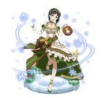 1girl :d ankle_ribbon black_eyes black_hair box breasts christmas_tree cleavage dress elbow_gloves full_body gift gift_box gloves green_hairband green_ribbon head_tilt kirigaya_suguha large_breasts long_dress looking_at_viewer one_leg_raised open_mouth ribbon short_hair short_sleeves simple_background smile solo standing standing_on_one_leg sword_art_online white_background white_dress white_gloves