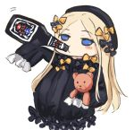 1girl abigail_williams_(fate/grand_order) asle bangs black_bow black_dress black_hat blonde_hair blue_eyes bottle bow butterfly commentary_request dress drinking eyebrows_visible_through_hair fate/grand_order fate_(series) hair_bow hands_in_sleeves hat holding holding_bottle long_hair long_sleeves looking_at_viewer looking_away object_hug orange_bow parted_bangs polka_dot polka_dot_bow simple_background solo stuffed_animal stuffed_toy teddy_bear very_long_hair white_background