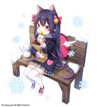 1girl :t animal_ears backpack bag bangs bell bench black_jacket blush bow cat_ears cat_girl cat_tail commentary_request eating eyebrows_visible_through_hair food grey_skirt hair_bell hair_between_eyes hair_bow hair_ornament highres holding holding_food jacket long_hair long_sleeves looking_away moong_gya original paper_bag pink_bow pink_footwear plaid plaid_skirt pleated_skirt purple_hair shoes sitting skirt sneakers snow snowflakes snowman solo sweater sweet_potato tail thigh-highs twintails very_long_hair violet_eyes white_background white_legwear white_sweater white_wings wings yakiimo