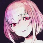1girl blush breasts eyebrows_visible_through_hair face hair_between_eyes looking_at_viewer original parted_lips pink_eyes pink_hair portrait purple_background red_eyes short_hair simple_background sketch smile solo soropippub