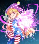 1girl american_flag_dress american_flag_legwear bangs bare_arms blonde_hair breasts closed_mouth clownpiece commentary_request fairy_wings fire gradient gradient_background hat highres holding jester_cap kuronohana licking_lips long_hair looking_at_viewer medium_breasts neck_ruff pantyhose pink_eyes polka_dot short_sleeves solo star star_print starry_background striped tongue tongue_out torch touhou transparent_wings v very_long_hair wings