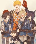 5boys animal_ears arm_around_shoulder arthur_(granblue_fantasy) black_hair blonde_hair brown_gloves brown_hair closed_eyes cruz_(granblue_fantasy) erun_(granblue_fantasy) gloves granblue_fantasy hair_intakes hand_on_another's_head harbin height_difference highres male_focus mordred_(granblue_fantasy) multiple_boys red_gloves rozu_ki tornelio_(granblue_fantasy) vane_(granblue_fantasy)