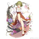 1girl bare_legs bracelet breasts cleavage closed_mouth full_body green_hair high-waist_skirt holding holding_umbrella jewelry kazami_yuuka looking_at_viewer medium_breasts necklace orange_flower petals pink_flower plaid plaid_skirt plant purple_flower red_eyes red_footwear red_skirt sam_ashton shoes short_hair simple_background skirt smile solo touhou umbrella vines white_background
