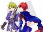 2boys armor blue_eyes boots bow_(weapon) breastplate fingerless_gloves fire_emblem fire_emblem:_fuuin_no_tsurugi gloves green_eyes green_hair holding holding_bow_(weapon) holding_weapon multiple_boys redhead roy_(fire_emblem) simple_background smile spiky_hair weapon wolt
