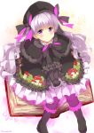 1girl bangs beret black_bow black_capelet black_dress black_footwear black_gloves black_hat black_legwear blush book boots bow capelet commentary_request doll_joints dress eyebrows_visible_through_hair fate/extra fate_(series) food_print frilled_boots frilled_dress frilled_sleeves frills fur-trimmed_capelet fur_trim gloves hair_bow hat highres knee_boots knees_together_feet_apart legs_apart long_hair long_sleeves looking_at_viewer mushroom_print niwasane_(saneatsu03) nursery_rhyme_(fate/extra) open_book own_hands_together pantyhose print_dress silver_hair sitting solo striped striped_bow very_long_hair violet_eyes