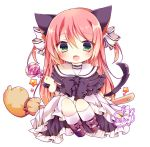 1girl :d ai_1003 animal_ears bangs black_bow black_footwear black_neckwear black_shirt blush bow bowtie broom broom_riding candy cat_ears cat_girl cat_tail chibi commentary_request eyebrows_visible_through_hair fang food full_body hair_between_eyes hair_bow halloween highres holding holding_lollipop kneehighs lollipop long_hair looking_at_viewer open_mouth original pink_bow pink_hair polka_dot polka_dot_bow shirt shoes signature simple_background sitting sitting_sideways skirt smile solo star striped striped_bow swirl_lollipop tail two_side_up very_long_hair white_background white_bow white_legwear white_skirt