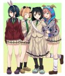 4girls :d animal_ears arm_grab arm_hug backpack bag bags_under_eyes bangs black_hair blunt_bangs brown_hair cardigan check_commentary commentary_request expressionless eyebrows_visible_through_hair fake_animal_ears fake_horns girl_sandwich gradient gradient_background green_eyes grey_eyes hair_between_eyes harem headwear highres hood hooded_sweater horns kuroki_tomoko loafers long_hair loose_socks low_twintails mouse_ears multiple_girls necktie nemoto_hina open_mouth pantyhose pleated_skirt rabbit_ears sandwiched school_uniform shoes shoulder_bag skirt smile socks sweatdrop sweater takeko_spla tamura_yuri twintails ucchi_(watamote) watashi_ga_motenai_no_wa_dou_kangaetemo_omaera_ga_warui! yuri |_|