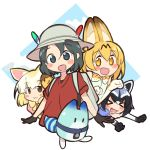 >_< 4girls :3 :d absurdres animal_ears bare_shoulders black_eyes black_gloves black_hair blonde_hair blush_stickers bow bowtie brown_eyes bucket_hat closed_eyes closed_mouth common_raccoon_(kemono_friends) elbow_gloves eyebrows_visible_through_hair fang fennec_(kemono_friends) fox_ears gloves grey_hat hair_between_eyes hat hat_feather highres kaban_(kemono_friends) kemono_friends looking_at_viewer lucky_beast_(kemono_friends) mousou_(mousou_temporary) multiple_girls open_mouth orange_eyes paw_pose pink_shirt puffy_short_sleeves puffy_sleeves raccoon_ears red_shirt serval_(kemono_friends) serval_ears serval_print shirt short_hair short_sleeves sleeveless sleeveless_shirt smile white_gloves white_shirt xd yellow_neckwear