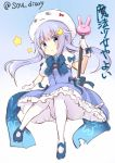 1girl blue_dress blue_eyes blue_hair commentary_request cosplay crescent crescent_hair_ornament dress gochuumon_wa_usagi_desu_ka? hair_ornament kafuu_chino kafuu_chino_(cosplay) kantai_collection long_hair magical_girl mary_janes miss_cloud pantyhose puffy_short_sleeves puffy_sleeves shoes short_sleeves sketch solo sou_(soutennkouchi) star translation_request twitter_username wand white_legwear yayoi_(kantai_collection)