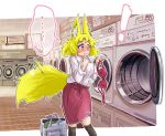 ! ... 1girl animal_ears bag bangs black_legwear blonde_hair blouse blush bra closed_mouth commentary_request doitsuken embarrassed eyebrows_visible_through_hair fox_ears fox_tail hand_to_own_mouth highres holding holding_bra holding_clothes indoors kneehighs laundromat laundry laundry_basket long_sleeves looking_down nose_blush original red_bra red_skirt short_hair skirt solo spoken_ellipsis standing striped_blouse tail underwear washing_machine white_blouse