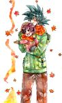 1boy 1girl :d ake_(ake54) black_eyes black_hair dragon_ball dragonball_z gloves grandfather_and_granddaughter hand_on_another's_head happy leaf looking_up open_mouth pan_(dragon_ball) scarf short_hair smile son_gokuu spiky_hair traditional_media watercolor_pencil_(medium) winter_clothes