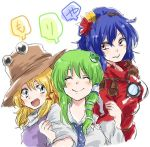 3girls blonde_hair blue_hair blush brown_hat facing_viewer frog_hair_ornament green_hair grey_eyes hair_ornament hair_tubes happy hat kochiya_sanae leaf_hair_ornament locked_arms long_hair moriya_suwako multiple_girls open_mouth pyonta red_eyes smile touhou unya upper_body white_background yasaka_kanako
