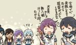 6+girls ahoge akebono_(kantai_collection) bell black_hair blue_hair brown_hair closed_eyes comic commentary_request flower grin hair_bell hair_flower hair_ornament hands_on_hips hat i-400_(kantai_collection) kantai_collection long_hair multiple_girls neckerchief open_mouth otoufu ponytail purple_hair sado_(kantai_collection) sailor_hat school_uniform serafuku shirt short_sleeves sidelocks sleeveless sleeveless_shirt smile tan tearing_up translation_request tsushima_(kantai_collection) ushio_(kantai_collection) yahagi_(kantai_collection)