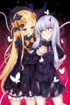 2girls :d abigail_williams_(fate/grand_order) bags_under_eyes bangs black_bow black_dress black_hat blonde_hair bloomers blue_eyes bow butterfly closed_mouth commentary_request cowboy_shot dress eye_contact eyebrows_visible_through_hair fate/grand_order fate_(series) hair_between_eyes hair_bow hand_holding hat highres horn interlocked_fingers kuragari lavinia_whateley_(fate/grand_order) long_hair long_sleeves looking_at_another multiple_girls open_mouth orange_bow pale_skin parted_bangs pink_eyes polka_dot polka_dot_bow silver_hair sleeves_past_wrists smile tentacle underwear very_long_hair white_bloomers wide-eyed