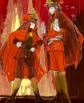 1boy 1girl artist_name blush boots brother_and_sister brown_hair cape demon_archer fate/grand_order fate_(series) fire frown hands_on_hips hat height_difference koha-ace long_hair looking_at_another oda_nobukatsu_(fate/grand_order) oda_uri open_mouth red_cape red_eyes siblings sketch sweat tearing_up uhana