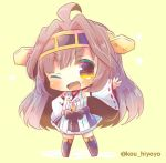 1girl ahoge bare_shoulders boots brown_eyes brown_hair chibi detached_sleeves double_bun full_body hairband headgear japanese_clothes kantai_collection kongou_(kantai_collection) kouu_hiyoyo long_hair looking_at_viewer lowres nontraditional_miko one_eye_closed open_mouth ribbon-trimmed_sleeves ribbon_trim smile solo thigh-highs thigh_boots twitter_username yellow_background